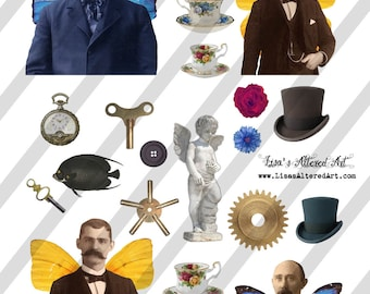 Digital Collage Sheet  Men with Wings and Ephemera Images  (Sheet no. O210) Instant Download