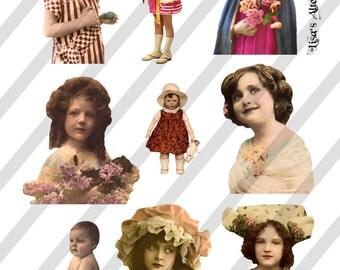 Digital Collage Sheet  Vintage Little girl Images (Sheet no. O217) Instant Download