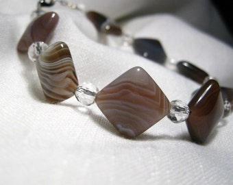 DRIFTWOOD Stone Bead Bracelet, Brown Gray Striped Botswana Agate Squares, Clear Quartz Crystal Faceted Rounds, Silver Clasp, Free Shipping