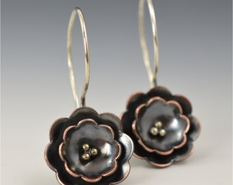 Floral Earrings - Copper and Sterling Silver