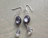 Downton Abbey Style Drop Crystal Earrings Sterling Silver Pierced Handmade