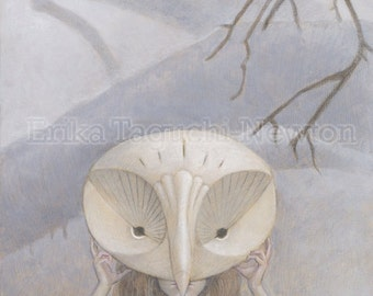 "Owl Mask Art, Owl Painting, Forest Animal Fine Art Print, ""We Hide in the Forest"""