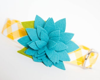 Floral Dog Collar - Turquoise Bloom on Yellow Gingham