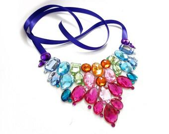 Bright Rainbow Rhinestone Statement Necklace, Colorful Rainbow Bib Necklace, Pastel Rainbow Crystal Statement