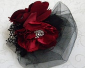Handmade Silk Hair Flowers, Red and Black, Bridal Party Accessories, Bridal Hair Fascinator, Alternative Bridal, Wedding Hair Piece-2014