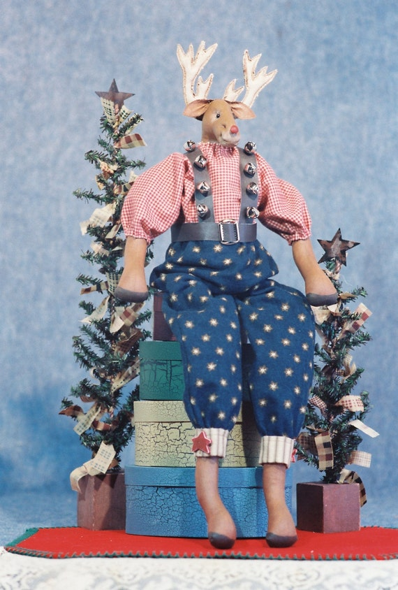 Cloth Doll E-Pattern 22in Dressed Christmas Reindeer Doll epattern