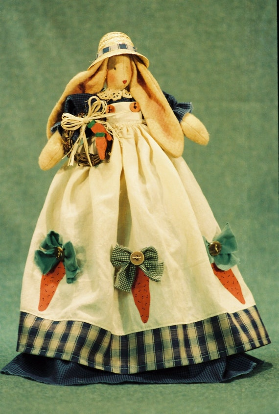 Cloth Doll E-Pattern- 21in Country Girl Bunny doll Epattern