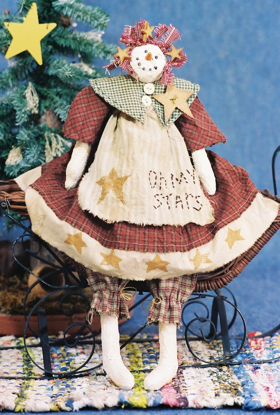 Cloth Doll E-Pattern 19in Country Holiday Snowgirl epattern