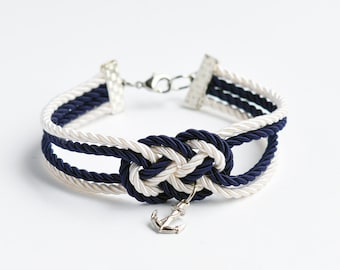 Navy blue and ivory cream double infinity knot nautical rope bracelet with silver anchor charm