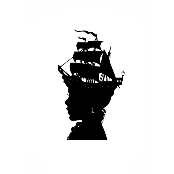 The Captain's Wife Nautical Silhouette Print Pirate Ship Black and White Beach House Decor