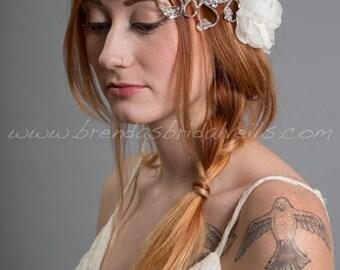 Rhinestone Headband with Silk Flower, Bohemian Headband, Bridal Headband, Wedding Flower Headband - Serenity