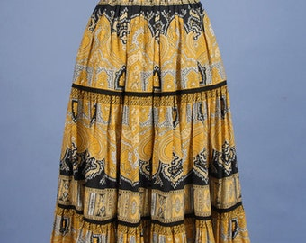 Vintage  70s French Souleiado Provence Full Skirt Printed Cotton One of a Kind