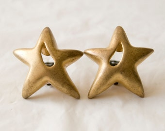 Vintage Large Gold Star Clip On Earrings