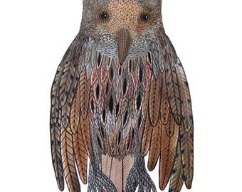 Great Horned Owl Print, bird art, woodland animal print, watercolor giclee art print, illustration