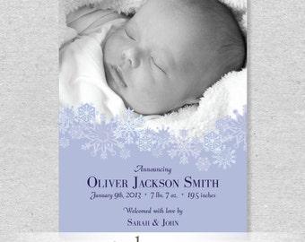 Snowflakes Birth Announcement - DIY Printable File