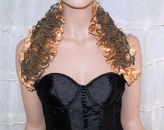 Antique Gold Steam Punk Tulle and Ruffles modesty adjustable Shoulder Wrap - MTCoffinz