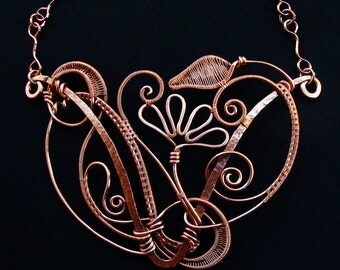 Copper Fantasia Statement Necklace Sealed Floral Vine Wire Woven Hammered