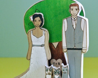 Custom Wedding Cake Topper Couple with Three Pets and Personalized Large Sweetheart Tree