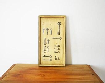 vintage 60s Skeleton Key Framed Wall Hanging
