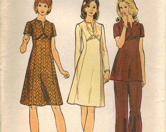 1970s Butterick 6846 Vintage Sewing Pattern Misses' Dress, Tunic and Pants Size 38 Bust 42