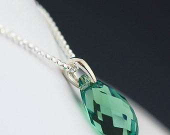 Valentine's Day gift ON SALE Green swarovski crystal necklace on sterling silver chain