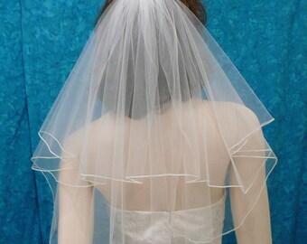 short  two tier circle cut bridal veil