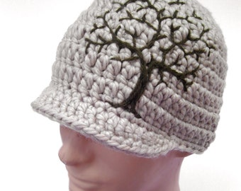 Guys Beanie with Tree of Life Design, Mens Hat with Tree, Hat Tan and Olive Green Hat, Mens  Winter Hat, Wool Hat, Warm Hat, MADE TO ORDER
