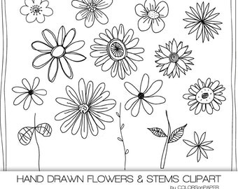 Hand Drawn Flowers Digital Clipart, Photoshop Brushes and Stamps. Doodles. Personal and Limited Commercial Use.