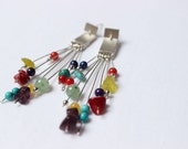 Multicolor earrings made of Sterling silver and colorful gems, Perfect for all seasons, Long Dangle earrings, super lightweigh