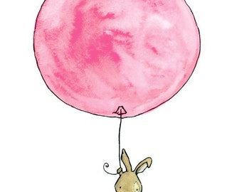 Bunny Balloon -- Wall Decal