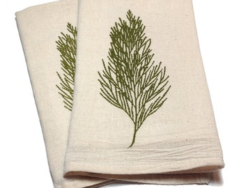 Pair of Flour Sack Cotton Napkins - Cedar design in olive green