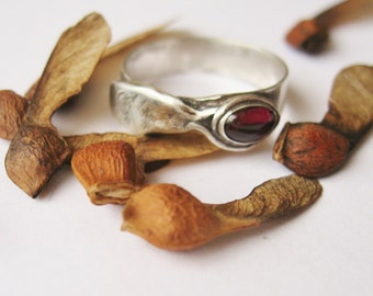 Red Maple Seed, Sterling Ring,  Wing Ring, sterling silver jewelry, maple tree, samara seed, nature jewelry, red garnet ring