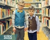 Schoolboy Vest PDF Pattern - Size 6m to 12Y - Boys Vest PDF Pattern by Sew Much Ado