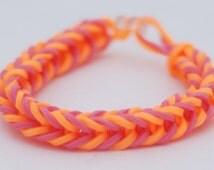 Orange and pink fishtail style rubberband bracelet