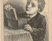 1880 Wood Engraving - The Box - Antique Children's Illustration - Book Plate, Print - Lithograph - Little Tommy Tip Toe - R Worthington