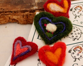 Heart Needle Felted Heart Pin 4 choices