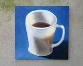 FireKing White Coffee Mug, unframed original oil painting