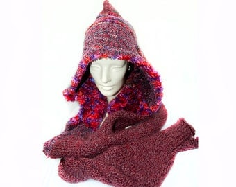 Red and Maroon  Skood Hooded Scarf