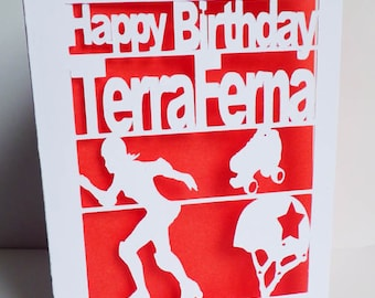 Birthday Card, Roller Derby, Cut Out Card, Roller Derby Birthday Card, Personalised Birthday Card