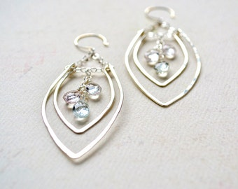 Rope Swing Earrings - silver statement earrings, hammered silver leaf earrings, aquamarine chandelier earrings, E14S