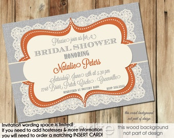Bridal Shower Invitation Orange and Grey Burlap Vintage Lace Bridal Shower Invite Printable Fall Autumn Invitation or Printed Invitations