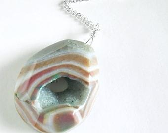 Large Druzy Geode Necklace, Green & Orange Agate Pendant Jewelry