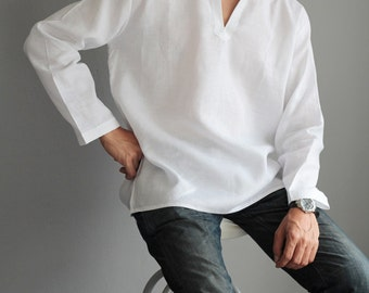 100% Linen long sleeve men's shirt (5703)