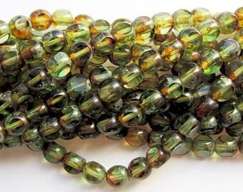 3 Cut Window Fire Polished Glass Beads