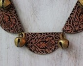 Crescent Tapestry Necklace  Pumpkin Spice and Plum  Baroque Statement Necklace  Brass Bells  Silk Road  Damask  Gift Box