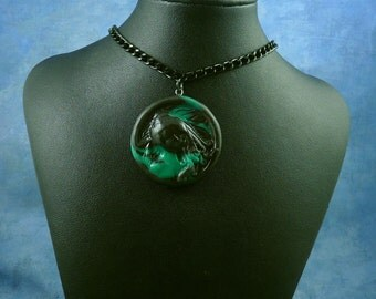 Black Marble Cthulhu Cameo Necklace with Chain, Handmade Polymer Clay Jewelry