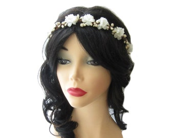 Wedding flower crown, Woodland bridal hair wreath, Ivory flower bridal crown, Floral head piece