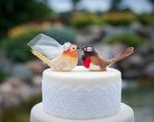 Cheeky Chickadee Wedding Cake Topper: Unique Bride and Groom Love Bird Cake Topper -- LoveNesting Cake Toppers