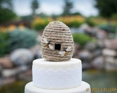 Bee Mine Wedding Cake Topper: Rustic, Straw Beehive Cake Topper and Wedding Centerpiece -- LoveNesting Cake Toppers