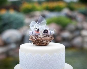Lavender Love Bird Wedding Cake Topper: Bride & Groom Love Bird Cake Topper -- LoveNesting Cake Toppers